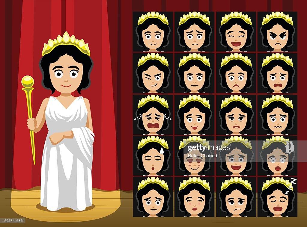Greek Gods Hera Costume Cartoon Emotion faces Vector Illustration