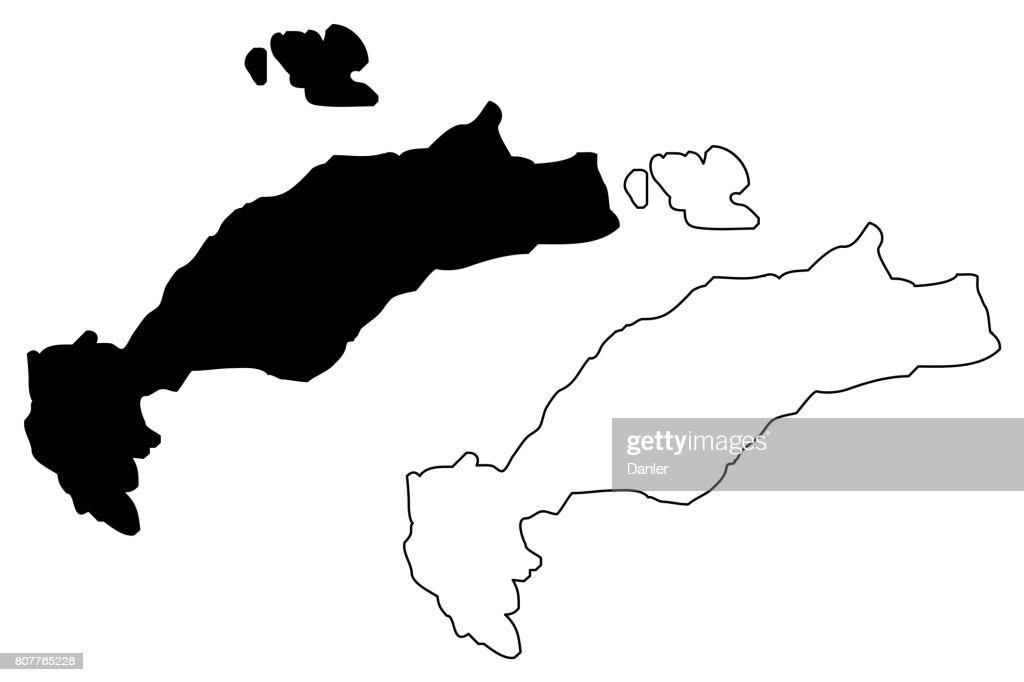 Greek Island Kos map vector,
