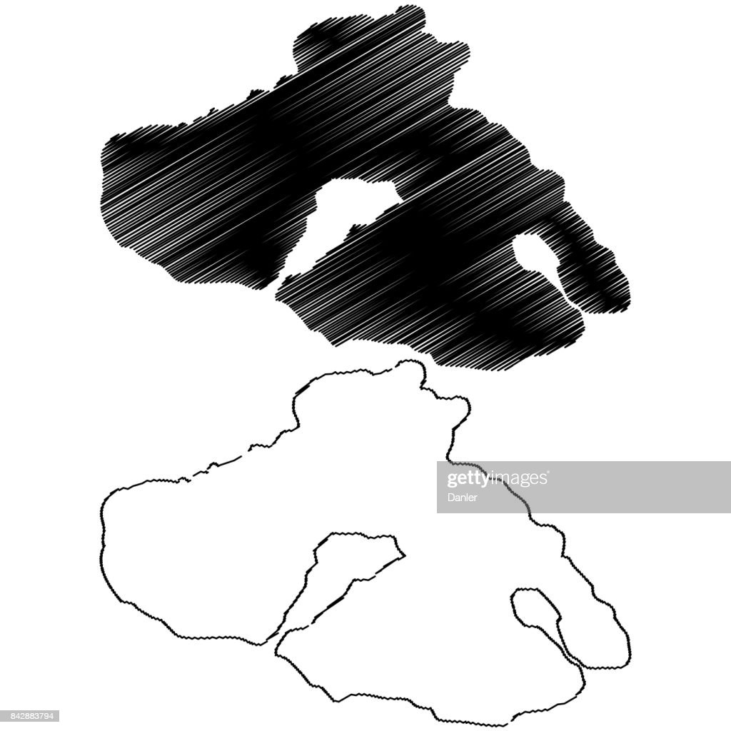 Greek Island of Lesbos (Lesvos) map vector,