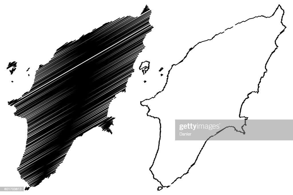 Greek island Rhodes map vector,