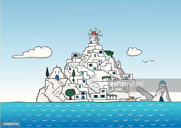 greek island - greek islands stock illustrations, clip art, cartoons, & icons
