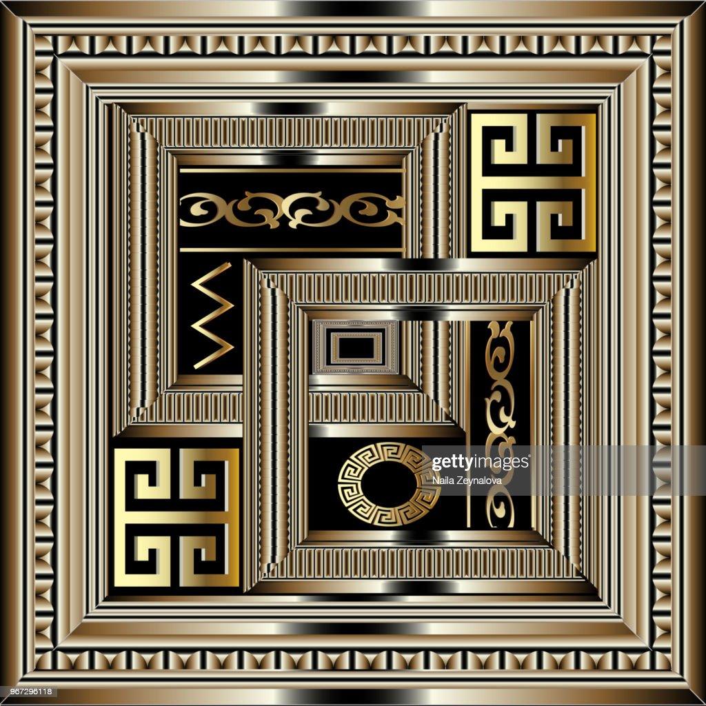 Greek key meander ornamental pattern.