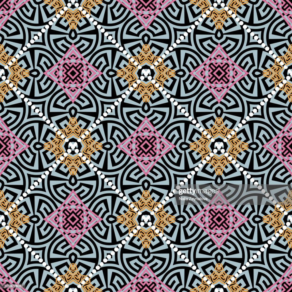 Greek key meanders ornamental vector seamless pattern. Colorful patterned geometric background. Repeat decorative floral backdrop. Elegant design with dotted frames. For fabric, textile, wallpaper