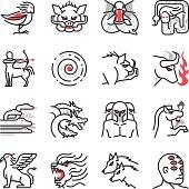 Greek monster mythology icons