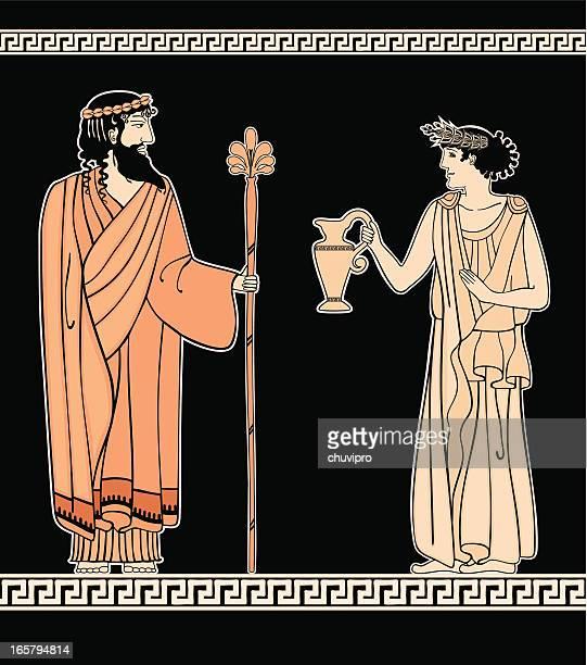 greek ornament women and men - greek people stock illustrations, clip art, cartoons, & icons