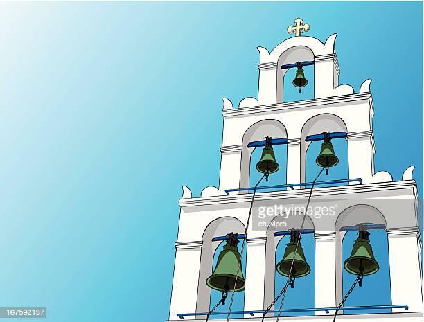 greek orthodox church bell tower - santorini stock illustrations