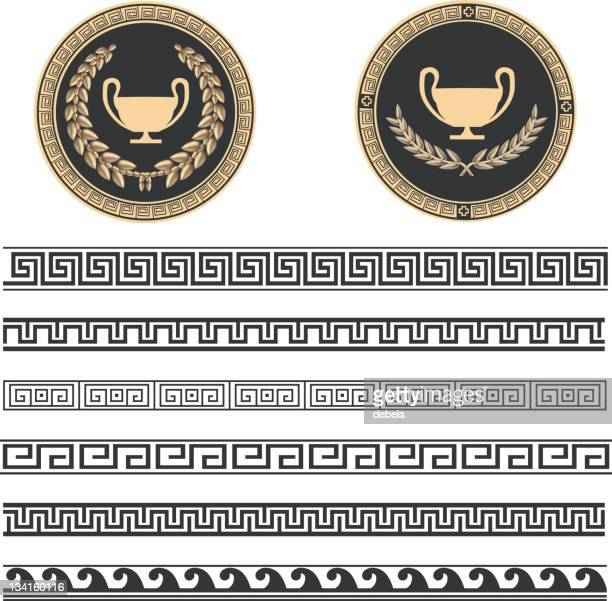 greek pattern - greek culture stock illustrations, clip art, cartoons, & icons