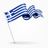 Greek pin wavy flag. Vector illustration.