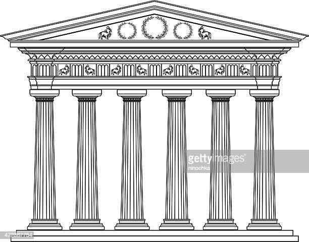 stockillustraties, clipart, cartoons en iconen met greek portic - classical greek style
