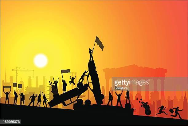 greek riot (european financial crisis) - judgment day apocalypse stock illustrations, clip art, cartoons, & icons
