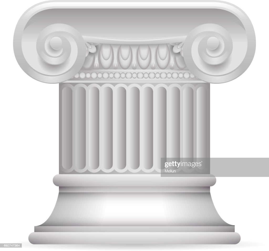 Greek Roman Antique Classic Column Stand 3d Realistic Isolated Design Vector illustration