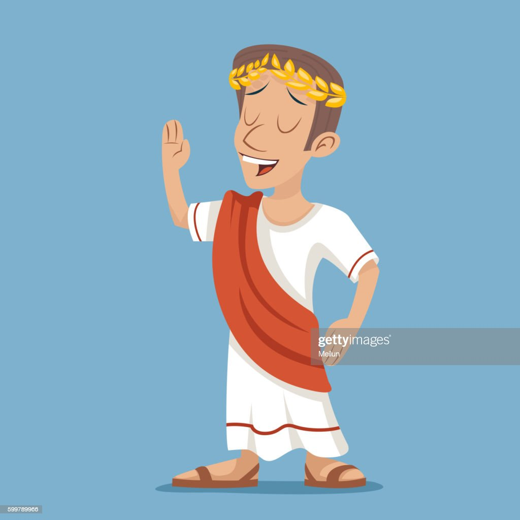 Greek Roman Retro Vintage Businessman Cartoon Character Icon on Stylish