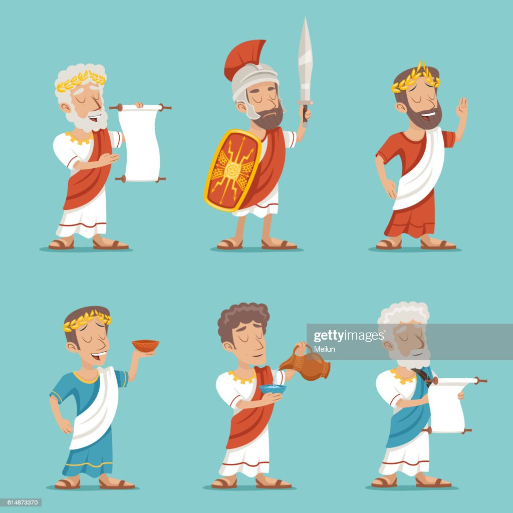 Greek Roman Retro Vintage Character Icon Set Cartoon Design Vector