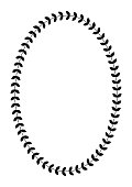 Greek round frame with olive tree leaves. Typical egyptian, assyrian and greek motives circle border. vector