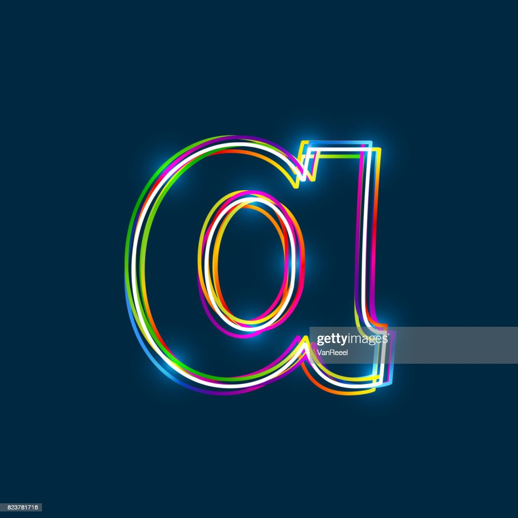 Greek Small Letter Alpha - Vector multicolored outline font with glowing effect isolated on blue background.