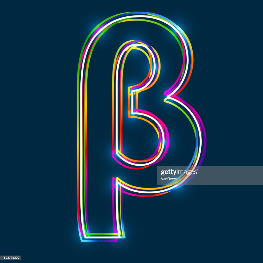 Greek Small Letter Beta - Vector multicolored outline font with glowing effect isolated on blue background.