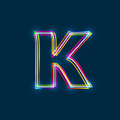 Greek Small Letter Kappa - Vector multicolored outline font with glowing effect isolated on blue background.