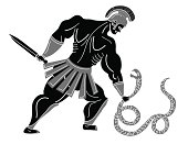Greek soldier fight with a serpent