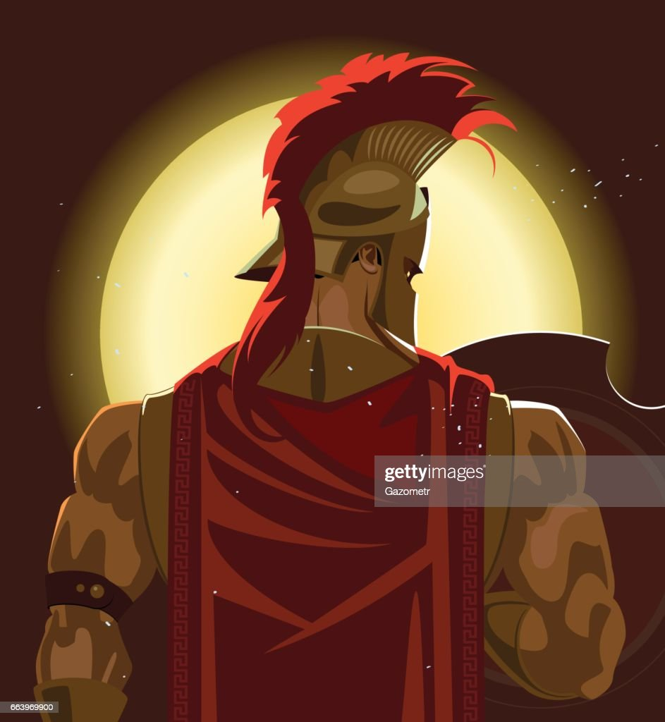 Greek Spartan Warrior or Trojan Soldier holding shield and sword