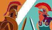 Greek Spartan Warrior versus Trojan Soldier holding shield and sword - Vector Illustration.