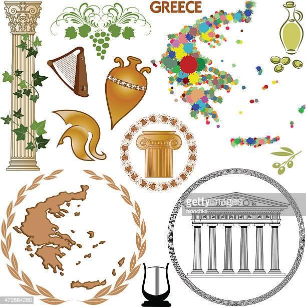 greek symbols - sparta greece stock illustrations, clip art, cartoons, & icons