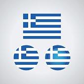 Greek trio flags, vector illustration