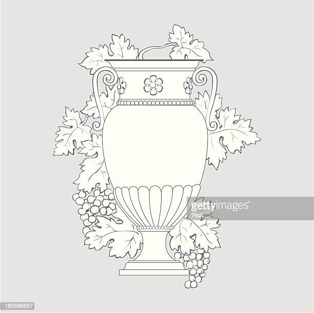 greek vas with grapes and leaf - vase stock illustrations, clip art, cartoons, & icons