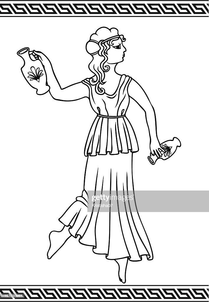 Greek woman with amphoras