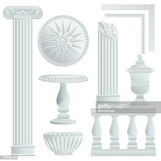greek/roman architecture elements - classical greek style stock illustrations