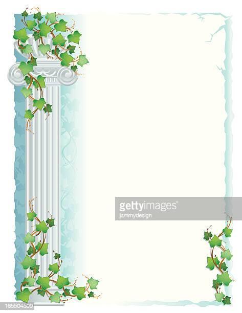 ilustrações, clipart, desenhos animados e ícones de grécia/roman coluna com hera - pediment
