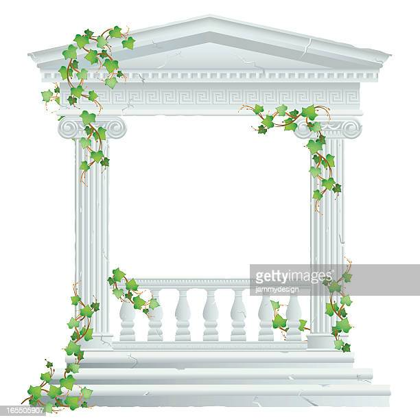 greek/roman ruin with ivy - temple building stock illustrations, clip art, cartoons, & icons