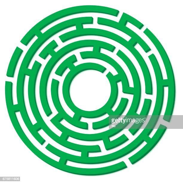 Green 3D Circle Maze