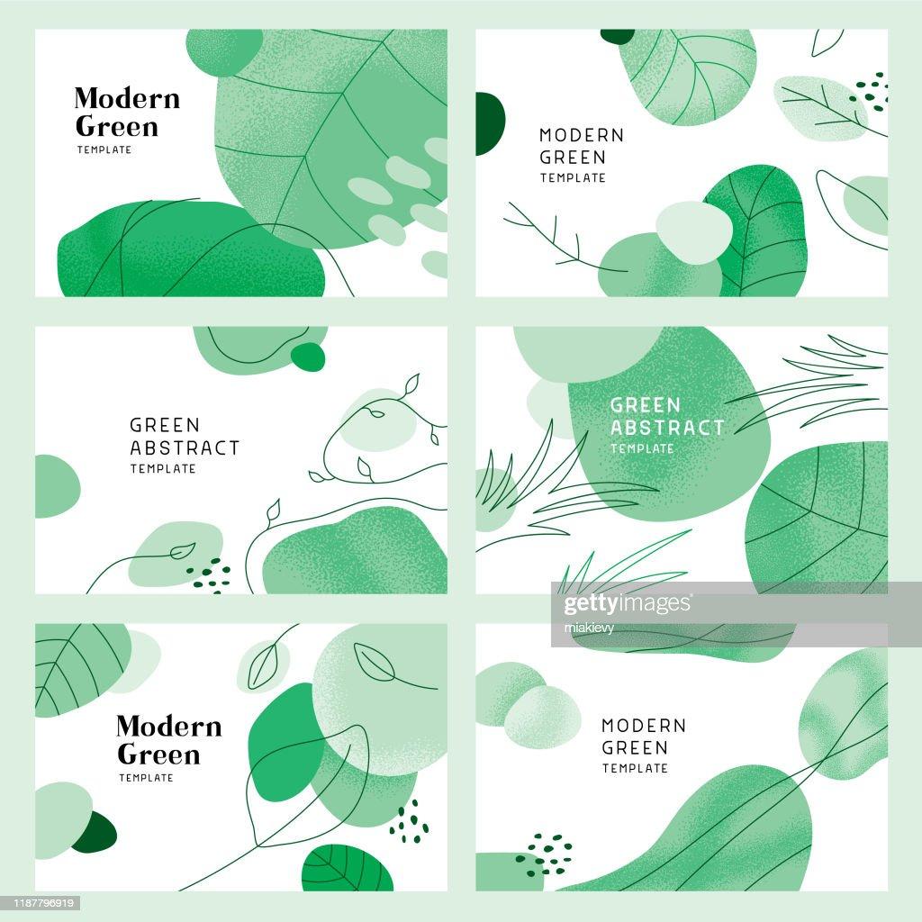 Grüne abstrakte Hintergründe mit Blättern : Stock-Illustration
