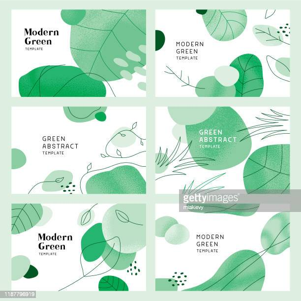green abstract backgrounds with leaves - plant stock illustrations