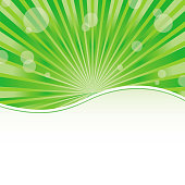 Green abstract card template with sun baubles