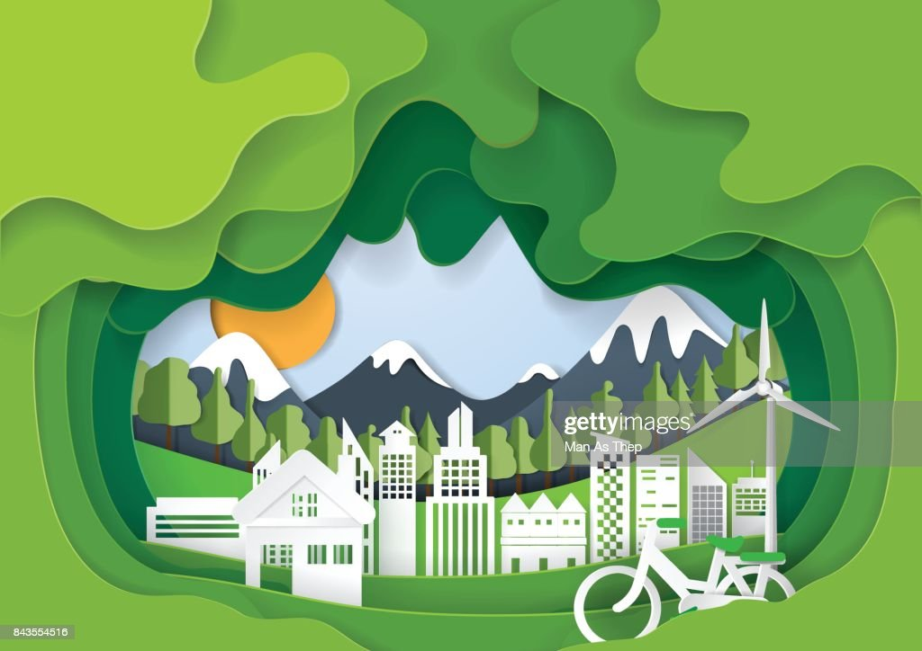 Green abstract eco city paper art background