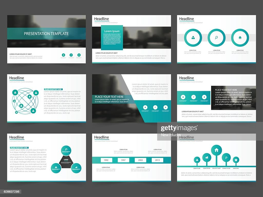 Green Abstract presentation templates Infographic elements template flat design set