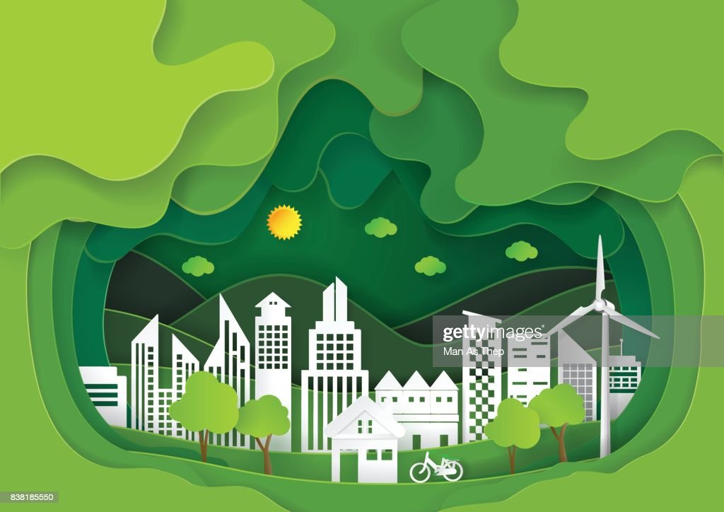 Green abstract tree and city paper carve background.