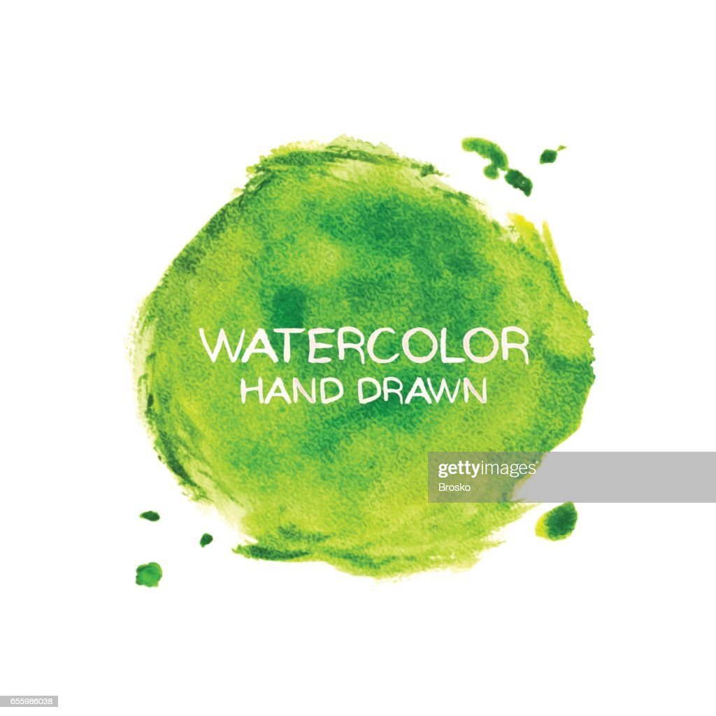 Green abstract watercolor background. Hand drawn watercolor stains, splashes and drops