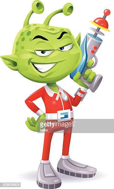 Green Alien With Laser Pistol