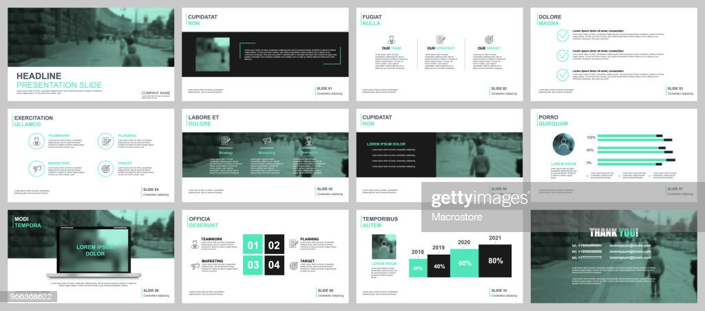 Green and black business presentation slides templates from infographic elements.