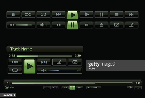green and black computer media player - shuffling stock illustrations