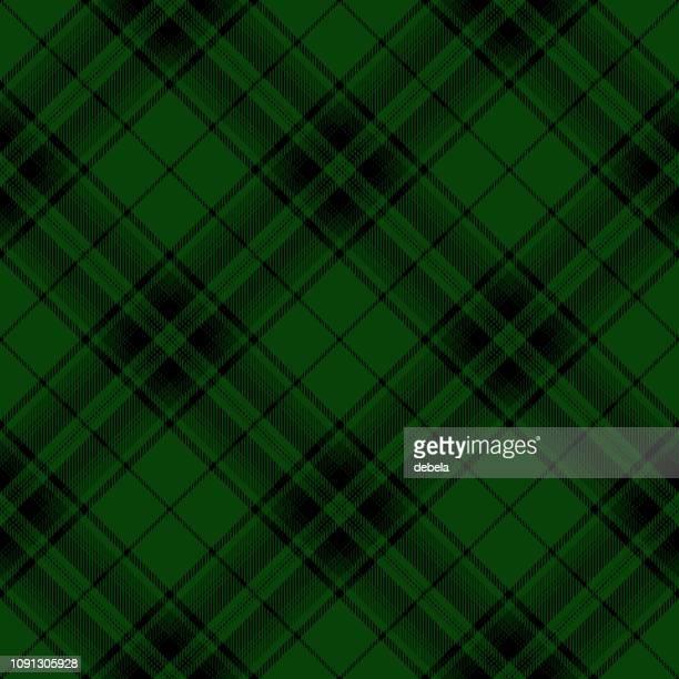 Green And Black Scottish Tartan Plaid Textile Pattern