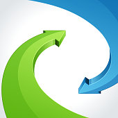 3D green and blue arrows in abstract