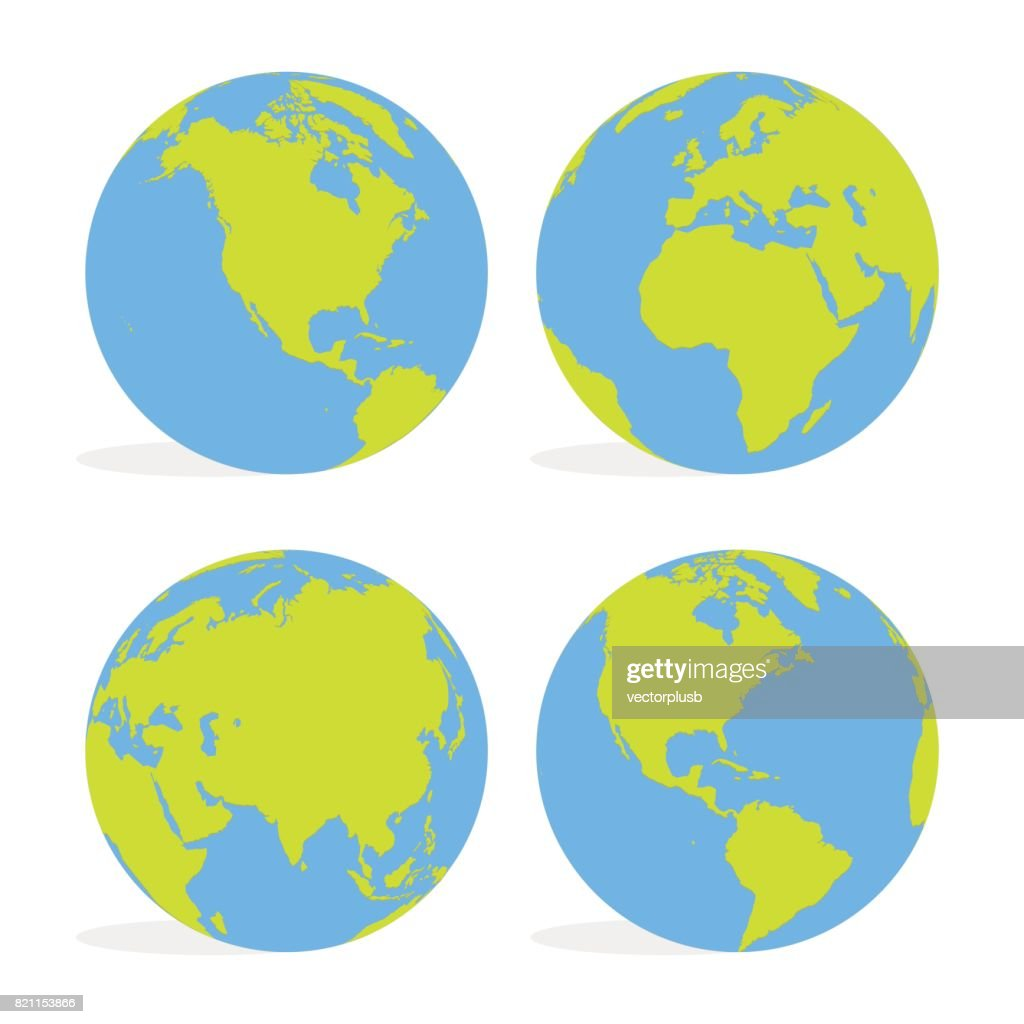 Green and blue cartoon world map globe set vector illustration