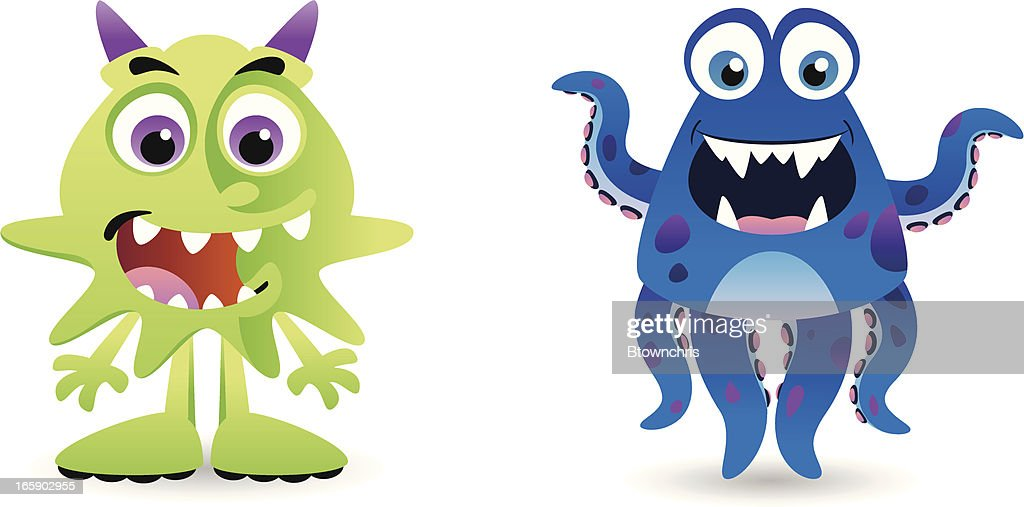 Green and Blue Creatures : stock illustration