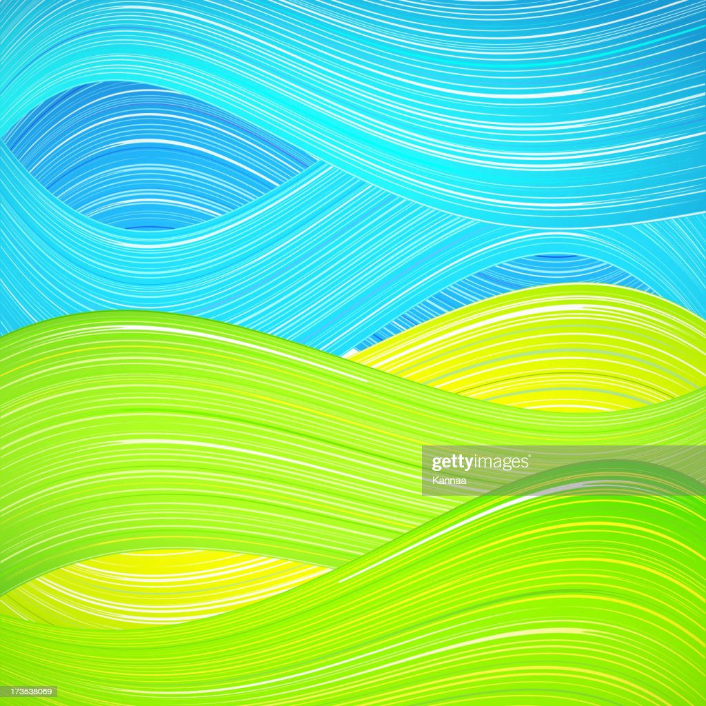 Green and blue wave background