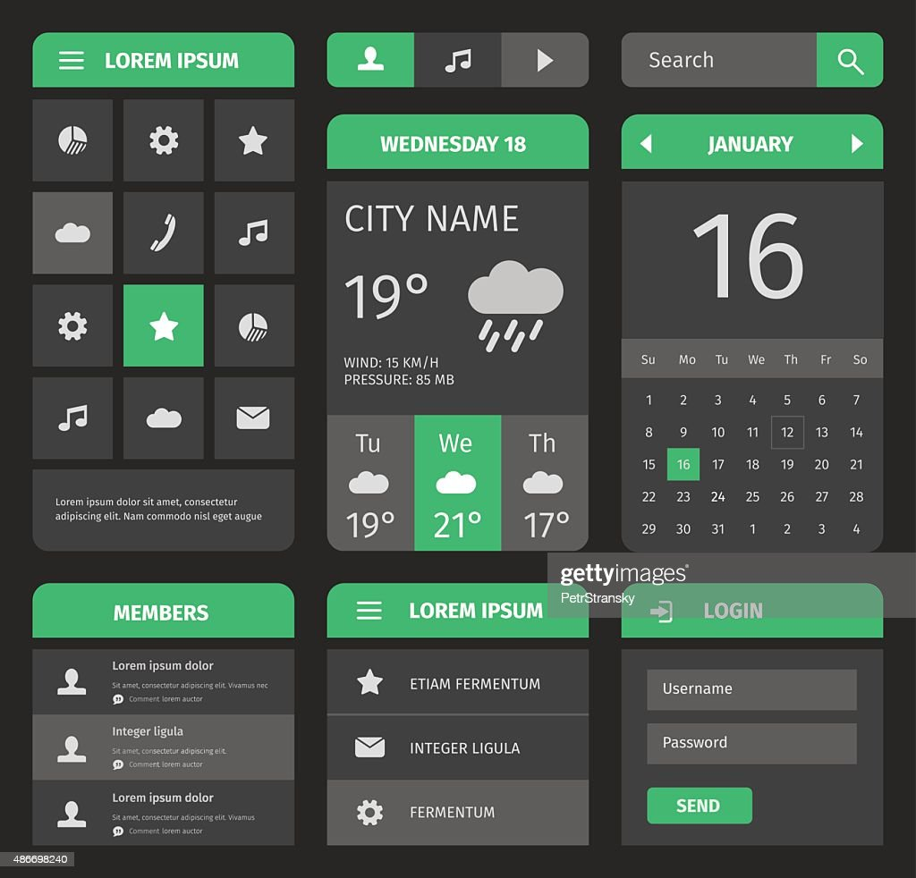 Green and gray mobile interface with login