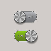 Green and gray on and off toggle switches