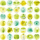 Green and lime vacation icons